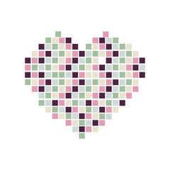 Heart symbol made of colorful mini square on white background.