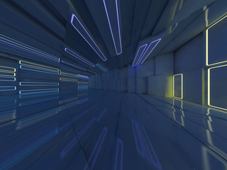 Background of an empty room with walls and neon light. Neon rays and glow. 3D