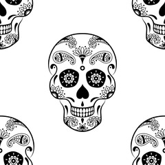 Vector seamless pattern of black sugar skull with doodle floral pattern on white background. Coloring page book for Mexican Day of the Dead