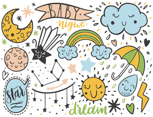 Vector dooodle sketch kids set. Hand dreawn style. Baby wreath cloud,moon,sun,rainbow,cloud.