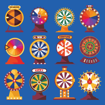 Wheels of fortune set. Vivid flat objects with words try and win, lucky. Spinning game and bet money roulette on blue color