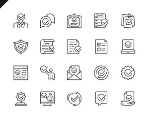 Simple Set of Approve Related Vector Line Icons. Linear Pictogram Pack. Editable Stroke. 48x48 Pixel Perfect Icons.