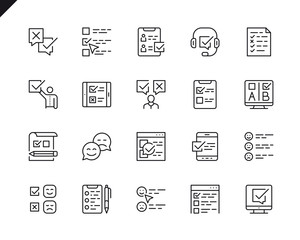 Simple Set of Survey Related Vector Line Icons. Linear Pictogram Pack. Editable Stroke. 48x48 Pixel Perfect Icons.