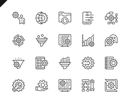 Simple Set of Data Processing Related Vector Line Icons. Linear Pictogram Pack. Editable Stroke. 48x48 Pixel Perfect Icons.