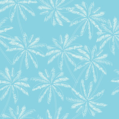 White outline palm trees on the light blue  background. Vector seamless pattern. Tropical illustration. Jungle foliage.