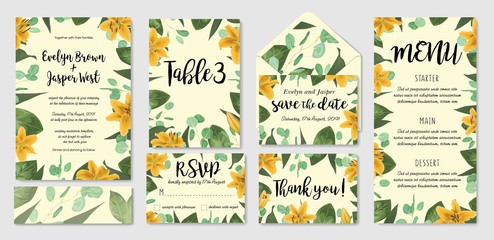 Template set wedding invite, invitation menu, rsvp, thank you card, table, vector floral greenery design. Watercolor style herbs, eucalyptus, yellow lily, botanical green