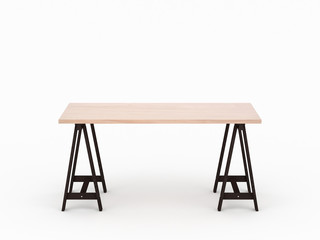 Wooden oak table desk mockup with dark brown legs isolated on light gray studio