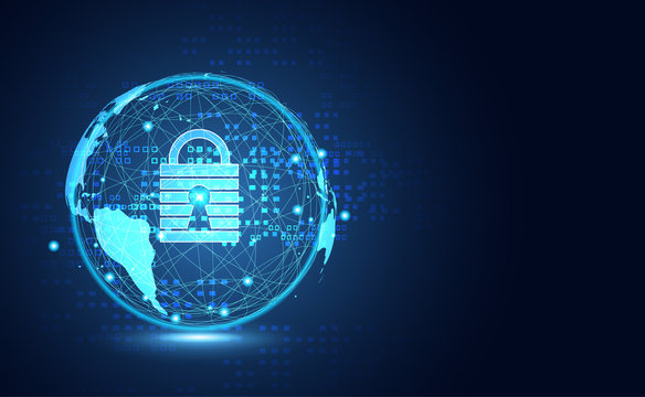 Abstract technology world cyber security privacy information network concept padlock protection digital network internet link on hi tech blue future background