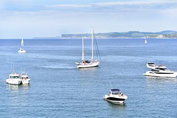 Boats Sailing in the North Sea, Santander, Cantabria, Spain