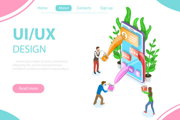 Isometric flat vector concept of UI and UX design process, mobile app development, GUI design.