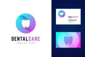 Dental stomatologic logo and business card template.