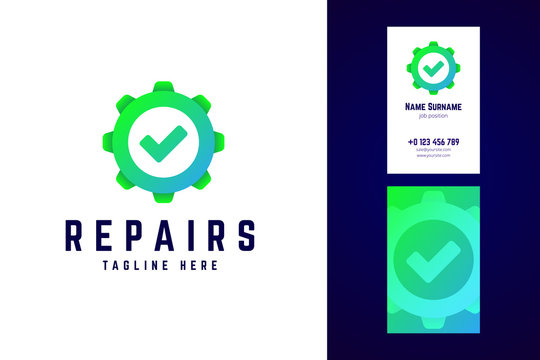 Repair logo and business card template. Gear sign with check mar