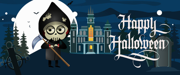 Happy Halloween lettering with grim reaper, castle and cemetery. Invitation or advertising design. Handwritten text, calligraphy. For leaflets, brochures, invitations, posters or banners.