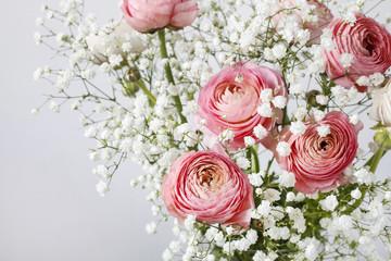 Pink ranunculus flowers and tiny white gypsophila paniculata.
