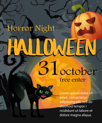 Halloween, October thirty first lettering with moon, pumpkin and cat. Invitation or advertising design. Typed text, calligraphy. For leaflets, brochures, invitations, posters or banners.