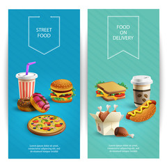 Fast Food Cartoon Banners