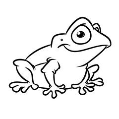 Frog smile kind animal character cartoon illustration isolated image coloring page