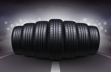 Car Tires On Night Roadway