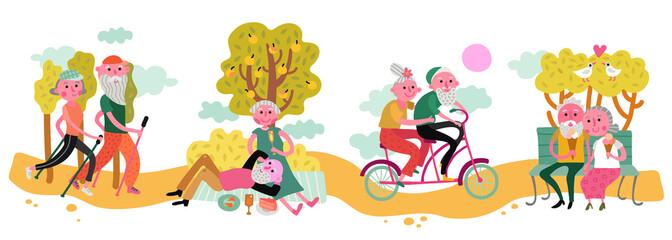 Elderly Couple Horizontal Illustration