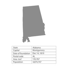 Alabama. States of America territory on white background. Separate state. Vector illustration