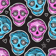 Calavera sign Dia de los muertos. Mexican Day of the dead. Seamless pattern. Vector hand darwing illustration woman and man sticker