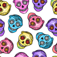 Calavera sign Dia de los muertos. Seamless pattern. Mexican Day of the dead. Vector hand darwing illustration woman and man sticker