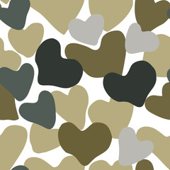 Vector Heart Camouflage green and gray color seamless pattern. Khaki repeat como abstract isolated on white background.