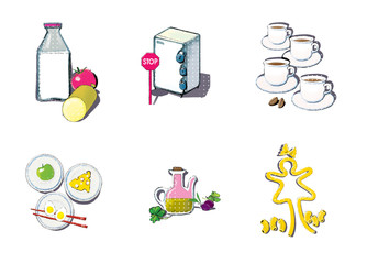 A set of 6 pictures in the style of pop art with a picture of the elements of proper nutrition for weight loss. Milk, vegetable, protein diet. Nutrition is fractional and time-dependent.