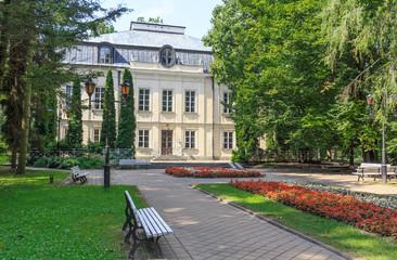 Malachowski Palace and Malachowski Aleja in Spa Park in Naleczow near Lublin in Poland