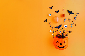 Pumpkin with Halloween objects Fototapete