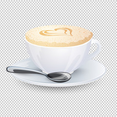 Cappuccino with a heart on milk foam. Popular coffee drink in white cup with saucer and spoon isolated on a transparent background. Vector illustration.