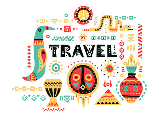 """Vector tourist poster with hand-drawn african symbols and lettering """"Travel""""."""