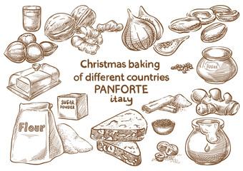 Christmas baking. Ingredients.Panforte.Italy