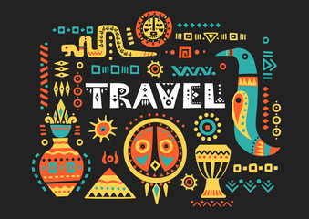 "Vector tourist poster with hand-drawn african symbols and lettering ""Travel"" on a black background."