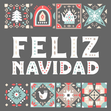 """Vector concept of festive card with patterned squares and lettering """"Feliz Navidad"""" (Merry Christmas, Spanish) on a black background."""
