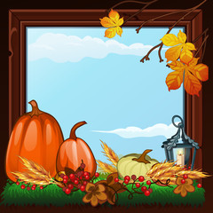 Stylish poster on theme of golden autumn. Composition of dry twigs, pumpkin and yellowed leaves of trees in wooden frame with burning candle. Romantic autumn card. Vector cartoon close-up illustration