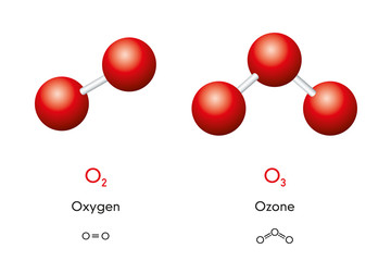 Oxygen O2 and ozone O3 molecule models and chemical formulas. Dioxygen and trioxygen. Gas. Ball-and-stick models, geometric structures and structural formulas. Illustration on white background. Vector
