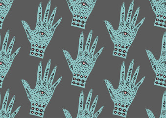 seamless pattern with palm hand with eye