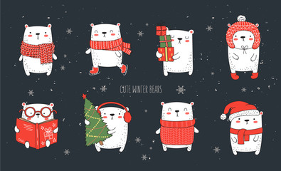 Vector collection of line drawing cute winter bears in cozy clothes