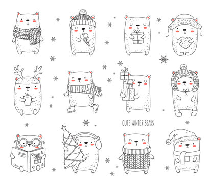Vector line drawing postcard with cute winter bear and cozy slogan in flat design