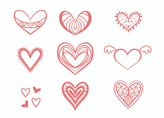 set of hearts on white background, hand-drawn