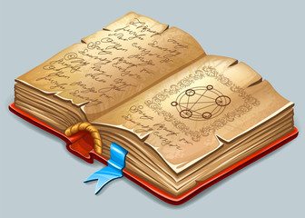 Isometric cartoon book of magic spells and witchcraft for computer game. Fairy tale icon in cartoon style. Vector illustration.