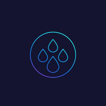 water drops vector line icon