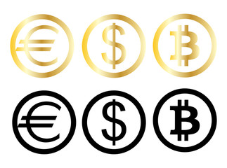 Three money currencies,euro, dollar and bitcoin isolated on white background