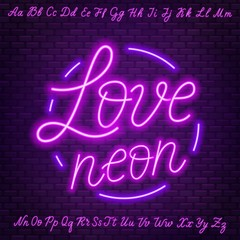 Fototapete - Pink neon script. Uppercase and lowercase letters.
