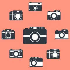 Photo camera icons set in flat style. Flat design vector. Set