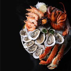 seafood, food, shrimp, prawn, fish, crab, fresh, sea, shellfish,