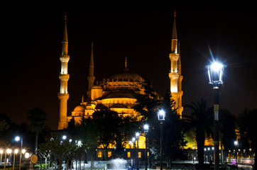 Blue Mosque or Sultanahmet Camii at night, Istanbul, Turkey. Blue Mosque is one of the best-known sights of Istanbul. Panoramic view of Blue Mosque at dusk. Illumination of Blue Mosque in evening.