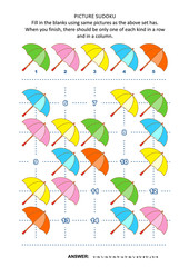 Picture sudoku puzzle 5x5 (one block) with colorful umbrellas. Answer included.