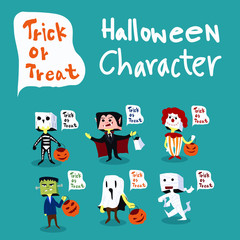 Halloween Kids Costume character with text balloon, trick or treat.